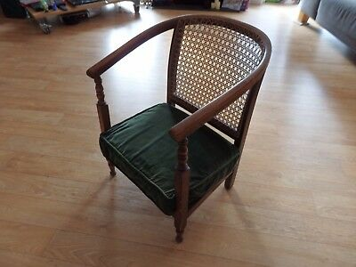 Edwardian low nursing chair mahogany and bergere cane
