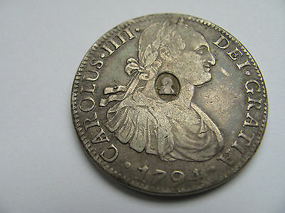 George III Silver Dollar Oval Countermark 8 Reales Carolus Fourth 1111 1794 Rare