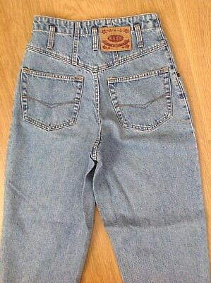 WOMENS VINTAGE MOM JEANS Blue Stonewashed Easy Sapphire High Waisted Size 6-8