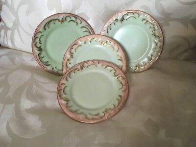 Porcelain Antique Miniature/Small Plates Set of Four Pretty Pink,Green & Gold
