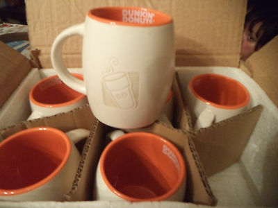 CASE OF 6 Dunkin Donuts short etched ceramic coffee mugs NIB 14oz 2012