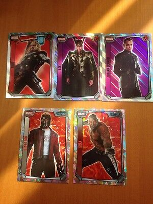 Topps Marvel Missions Trading Cards - 3 Holographic & 2 Supers Star-Lord + Drax
