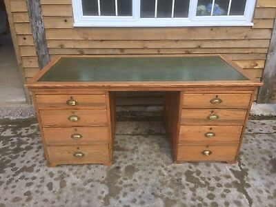 Stunning Antique Pine twin pedestal desk with Oak and Leather inlaid top