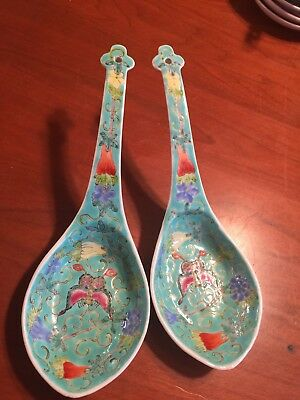 Pair of old Chinese porcelain large spoons. Marked