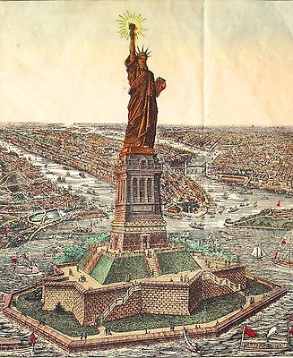 Antique Statue Of Liberty, New York - Bartholdi Copyright - Charles Magnus, 1885