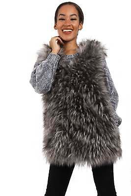 Womens Ladies Girls Soft Highlighted Fluffy Faux Fur Gilet