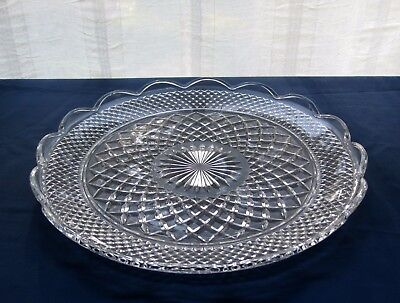 "Anchor Hocking Glass Clear Wexford 14"" Scalloped Platter Torte Tray"