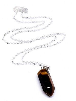 Tigers Eye Iron Hexagonal Bullet Pendant Gemstone Chain Necklace