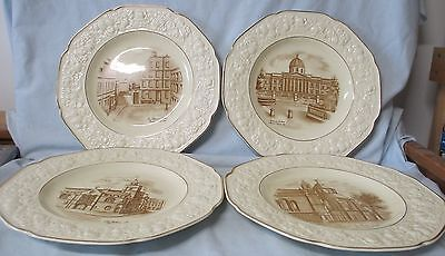 Crown Ducal Florentine 1940 Bombed Historic Buildings Dinner Plate set of 4