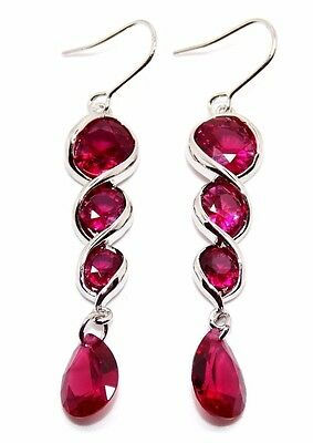Silver Ruby 12.4ct Drop Earrings (925) Free Gift Box