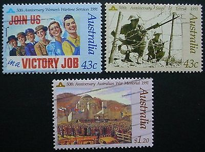 Australia 1991: Anzac Day & Birthday Of Qe Ii: 2 Sets Of Used Stamps: