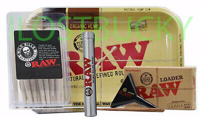 Authentic Raw  Combo Tray Bundle W 25 Raw  Cones 1 1/4 Organic   + Raw Loader