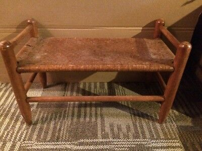Vintage Wood frame Rattan Woven seat Foot Stool Bench Cane