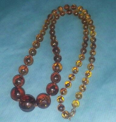 "Vintage  Brown Amber Lucite Graduated Bead 26"" Necklace  Retro"