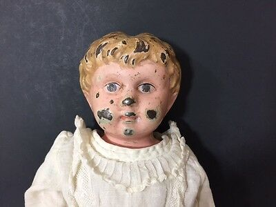 Vintage Doll Tin Head Blonde Molded Hair Leather Sawdust 14 Inch Body Restore