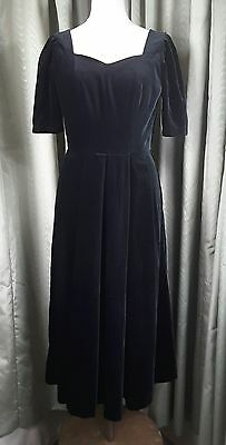 Laura Ashley Black Velvet Vintage 1980s Long Empire Line Evening Dress UK12
