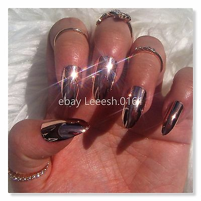 ROSE GOLD FALSE NAILS, mirror effect, chrome, metallic, fake nail