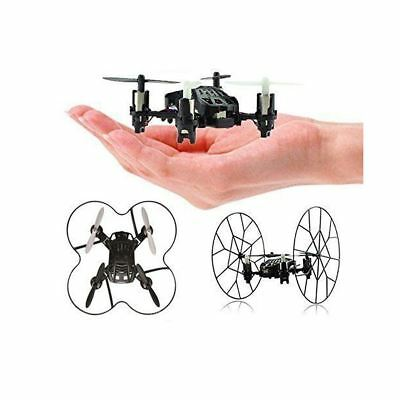 Top Race 4-Channel Micro Mini-Drone Rolling Quadcopter with Wheels Fly Roll