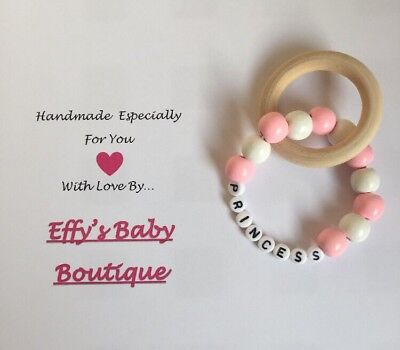 PERSONALISED💕Wooden Rattle Bracelet With Teething Ring💕Gift💕Baby Shower💕