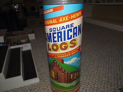 Vintage Halsam #815 Axe-Hewn Square American Logs  With Tube & Lid