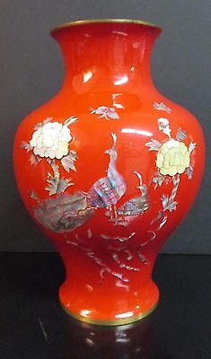 Red Enamel Over Brass Vintage Vase W/ Inlaid Mother Of Pearl Design Birds/asian
