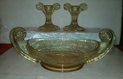 Fostoria June Etch Topaz Yellow Scroll Depression Glass Console Bowl & Sticks