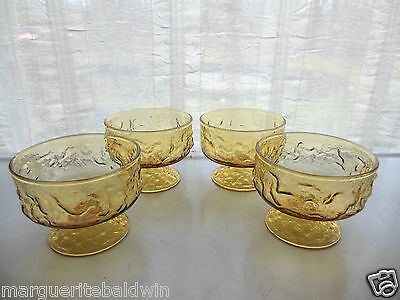 Anchor Hocking Glass 4 Honey Gold Amber Lido Milano Footed Dessert Cups Sherbets