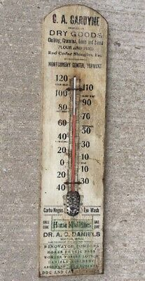 Antique Veterinary Dr. A.c Daniels Wooden Thermometer Gardyne Montgomery Vermont