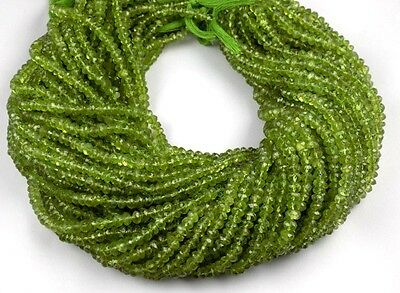 """2 Strands Natural Peridot Faceted Rondelle Gemstone Beads 5x5.5mm 13.5"""" Long"""