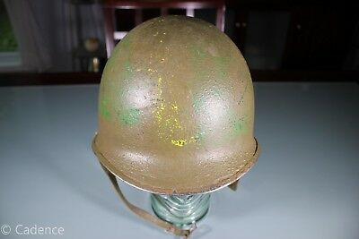 US WW2 M1 Front Seam Swivel Bale Named Officer Helmet Unusual Paint Great Liner!