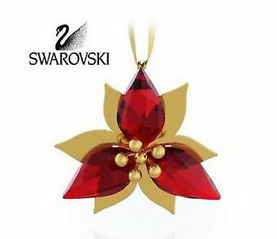 Swarovski Poinsettia Ornament, Gold Tone ~ 5064281 / 9400 000 513 ~ New In Box