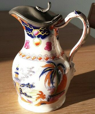 Thomas Booth, Hanley pottery jug with hinged pewter lid in excellent condition