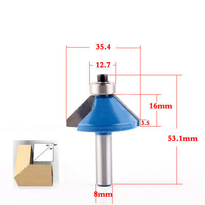 1Pc 8mm Shank 45 Degree Chamfer & Bevel Edging Router Bit Wood Cutting Tool