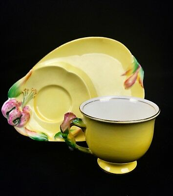 Royal Winton Grimwades 1940's Tea Cup And Plate / Tea For One / Yellow / Floral