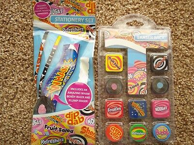 ***NEW*** RETRO SWEETS NOVELTY STATIONERY + 10pk ERASER SET.