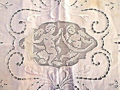 Antique Pillow Sham Cover Embroidered Angels Cutwork Italian Filet Lace Cupids
