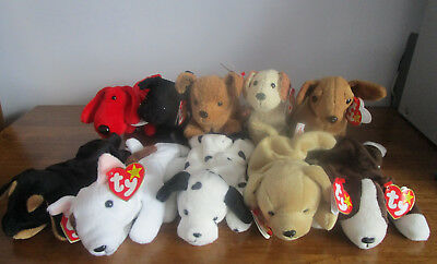 10 Ty Beanie Babies Job Lot DOGS Bull Terrier Bruno Doby Rufus Fetch Rover Tuffy