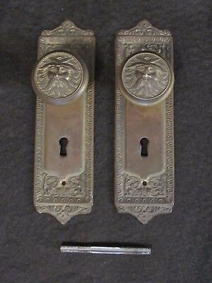 Figural Man of the North Wind Antique Vintage Brass Door Knobs and Backplates