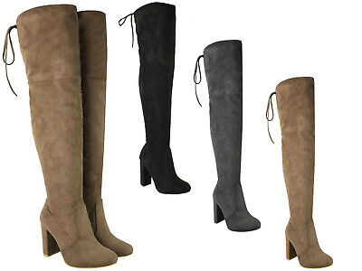 Womens Ladies Thigh High Boots Over The Knee Party Stretch Block Heel Mid Size