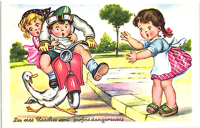 GIRL MOTORCYCLE SCOOTER vespa VINTAGE COMIC POSTCARD