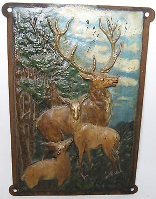 Vintage Cast Iron Hand Painted Elk-Deer-Stag Fireplace Cover - Wall Plaque Art