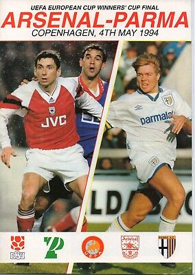 ARSENAL v PARMA 1994 CUP WINNERS CUP FINAL PROGRAMME & INSERT