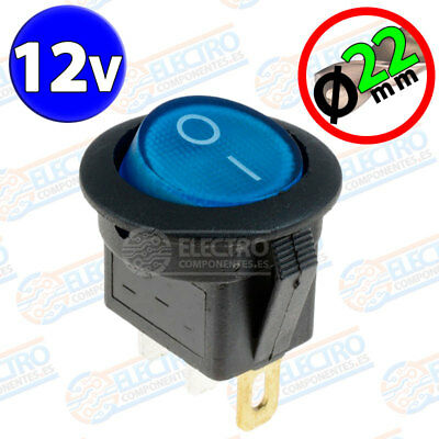 Interruptor ON OFF con LUZ 12v AZUL 22mm 16A redondo SPST coche car luz