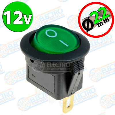 Interruptor ON OFF con LUZ 12v VERDE 22mm 16A redondo SPST coche car luz