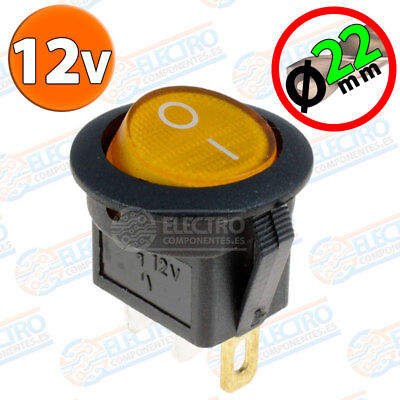Interruptor ON OFF con LUZ 12v NARANJA 22mm 16A redondo SPST coche car luz
