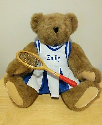 Vintage Vermont Teddy Bear Tan Jointed Large Plush - Tennis Outfit Emily