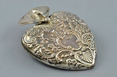 Vintage REO Sterling Silver Heart Shaped POSEY HOLDER Brooch TUSSIE MUSSIE