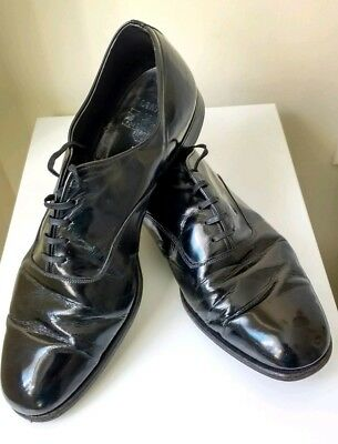 VINTAGE 1960's BLACK PATENT LEATHER MEN'S DRESS SHOES UK SIZE 9 EX.CONDITION
