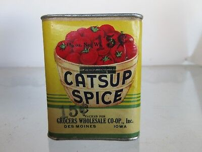 "CATSUP SPICE TIN CAN - 11/2 oz. - DES MOINES, IOWA - 3"" TALL - PAPER LABEL"