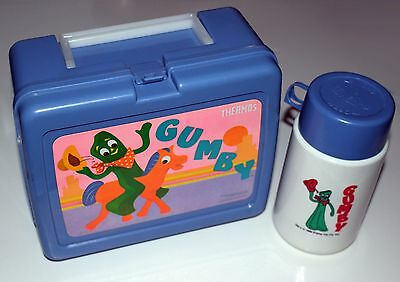 VINTAGE Gumby and Pokey Show Lunchbox and Thermos Plastic MINT Blue 1980s